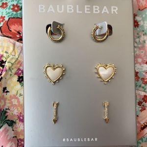 🆕 BaubleBar Heart Arrow Hoop Earring Set New